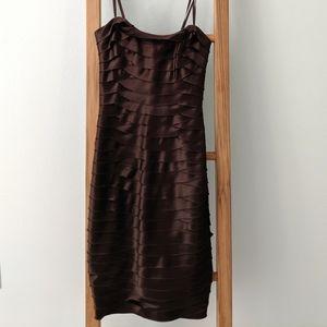 BCBG Strapless Brown Cocktail Dress